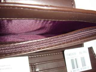 NWT COACH~Dark Plum~Ashley Patent Leather Slim Envelope Wallet 46309