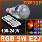 E27 9W Remote Control Color Changing LED Light Bulb RGB Color Lamp 100