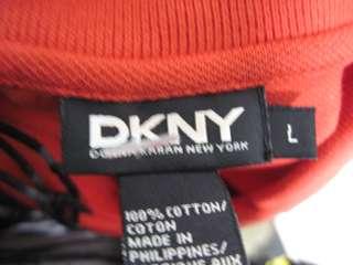 DKNY Red Sleeveless Polo Shirt Top Sz L
