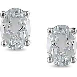 10k White Gold White Topaz Earrings