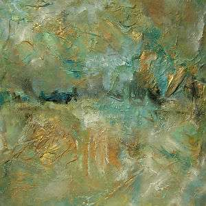 PAINTING MODERN ABSTRACT TEAL AQUA BLUE GREEN GOLD ART 20x20