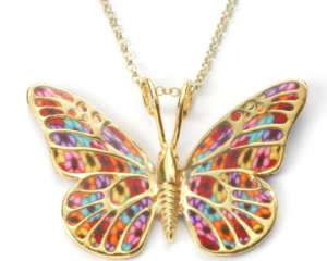 Butterfly Wing Jewelry 18k Gold Silver Necklace Pendant