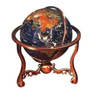 Alexander Kalifano 13 Lapis Globe with Three Leg Table Stand in Red