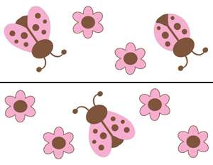 LADYBUGS PINK BROWN NURSERY WALL BORDER STICKERS DECALS