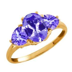 1.96 Ct Genuine Oval Blue Tanzanite Gemstone 14k Yellow