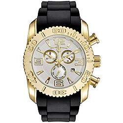 Swiss Legend Mens Commander Yellow Gold White Dial Chronograph Watch