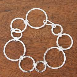 Sterling Silver Hammered Circles Link Bracelet (Mexico)