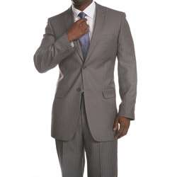 Ferrecci Mens Two button Light Grey Pinstripe Suit