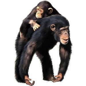 Jungle Animals Mama & Baby Chimpanzees Wall Mural: Home & Kitchen