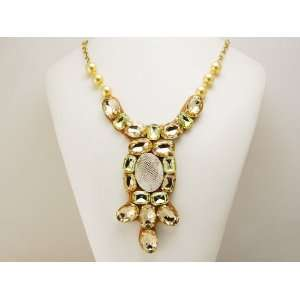 Ethnic Inspired Gold Tone Lime Green Dangle Drop Bib Costume Necklace
