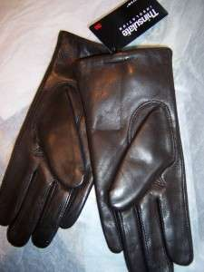 Ladies Quilted Italian. Leather Gloves,Brn Thinsulate