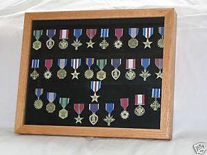 MILITARY MEDAL COLLECTABLE DISPLAY CASE OAK 17X21