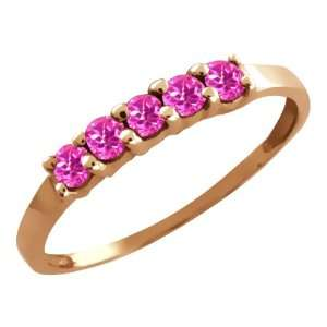 0.40 Ct Round Pink Sapphire 18k Rose Gold Ring Jewelry