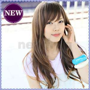 Long Full Wavy Hair Wig Fluffy Oblique Bangs Curly Light Brown Girls