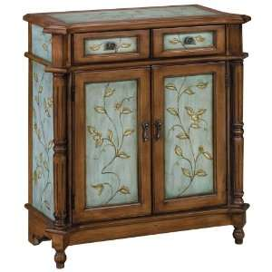 Sky Blue Two Door Wood Tone Cabinet: Home & Kitchen