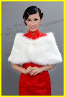 White Faux Fur Pearl Shrug Cape Stole Wrap Shawl Wedding Bridal