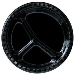 Black Velvet (Black) Plastic Divided Plates