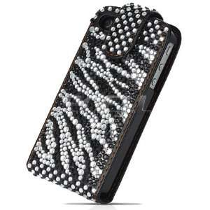 BLACK ZEBRA LEATHER BLING FLIP CASE COVER FOR iPHONE 4 Electronics