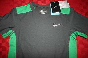 BOYS NIKE YOUTH DRI FIT TRAINING SHIRT GRAY & GREEN SMALL MEDIUM LARGE