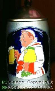 VINTAGE GERMAN LIDDED BEER STEIN W/ FRIAR Saltglazed