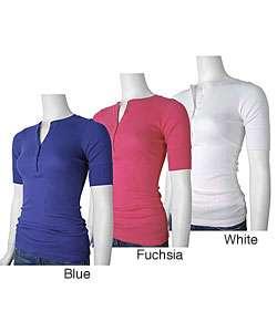 Belle du Jour Womens Short sleeve Henley Shirt