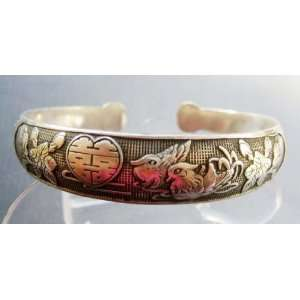 Tibetan Silver Love Bird Mandarin Ducks XI Bangle Cuff
