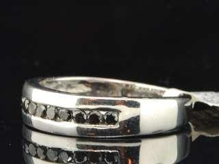 WHITE GOLD FINISH ROUND CUT BLACK DIAMOND WEDDING ENGAGEMENT BAND RING