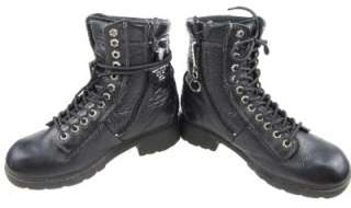 HARLEY Black Leather Ankle Lacer Motorcycle Boots Inside Side Zippers
