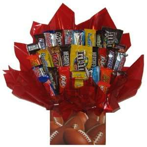 Chocolate Candy bouquet in a Football gift box Everything