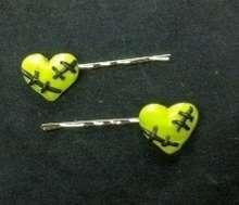 Stitched Heart Bobby Pins Emo Punk Goth Dark