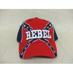Hat Red & Navy Blue Baseball Cap Confederate Flag