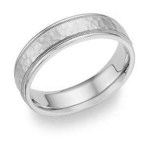Hammered Wedding Band   14K White Gold Jewelry