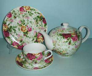 Royal Albert Country Rose Chintz 13 Piece Tea Set New!