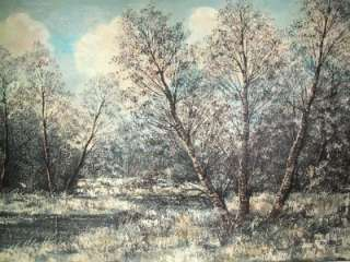 VINTAGE OIL PAINTING CANVAS FOREST WINTER LANDSCAPE SG