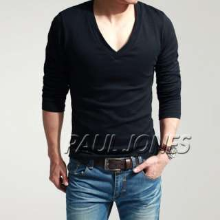 Long Sleeve Deep V neck T Shirt comfort Basic Tee XS S M L