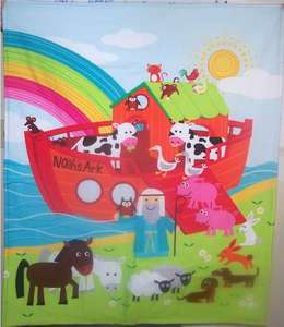 Noahs Ark boat rainbow animals Finished Baby Blanket