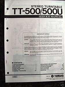 YAMAHA TT 500/500U TURNTABLE SERVICE MANUAL (PAPER)