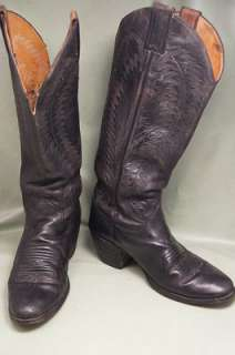 Justin Tall Classic Black Leather 7.5 B Womens Western Boots