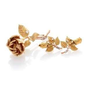 Antique Victorian Rose Gold Diamond Earrings Brooch Set