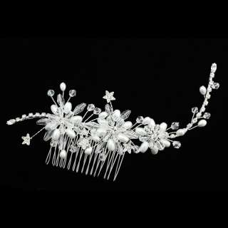 Bridal Crystal Pearl Flower Long Flexible Vine Wedding Tiara Hair Comb