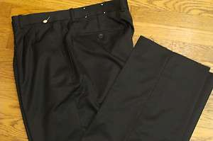 New Richard Harris Pleated Black Wool Blend Dress Pants Size 39