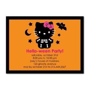 Halloween Party Invitations   Hello Kitty Spooky Skeleton