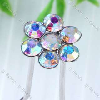 White Crystal Rhinestone Bloom Flower Hair Pin Wedding Party Accessory