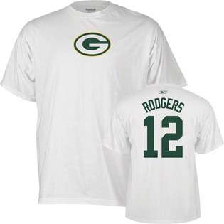 Reebok Aaron Rodgers White Reebok Name and Number Green Bay Packers T
