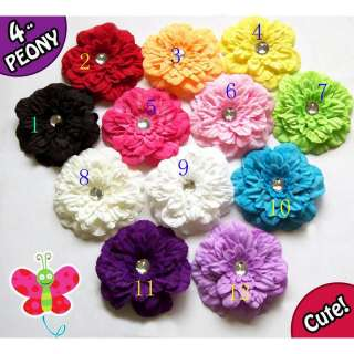 12pcs wholesale Girls Baby Peony Flower Hcrochet GIRL Baby Crystal