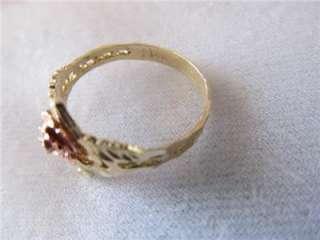 Vintage 14k Filigree Yellow & Rose Gold Pink Rose ,Heart & Crown Ring
