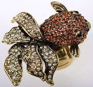 Gold brown swarovski crystal fish stretch ring 2