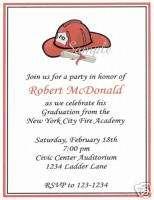 20 Custom Graduation Party Invitations/Fire/Fireman