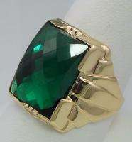 ANTIQUE VINTAGE ESTATE COLLECTIBLE RING GREEN QUARTZ 10K YELLOW GOLD