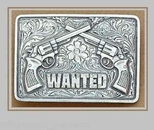 COWGIRL Crystal Western Buckle  CROSSED PISTOLS Guns